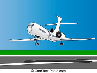 modern plane on ran way in sky