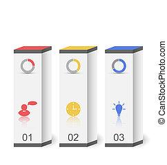 illustration, moderne, boîtes, dans, minimal, style, pour, conception, infographic, gabarit, ou, site web, disposition, -, vecteur