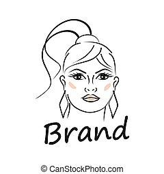 illustration., moderne, logo., gezicht, vrouw, mooi, beauty, vector