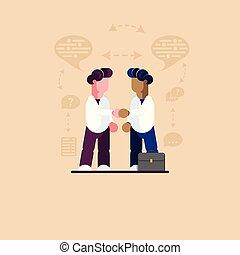 illustration., moderno, -, dos, vector, dark-skinned., white-skinned, hombres de negocios, reunión
