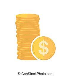 illustration., moedas ouro, sinal, vetorial, dollar.