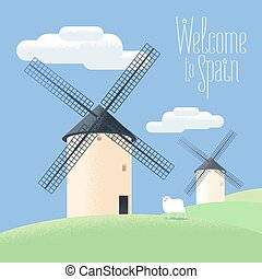 illustration., moinhos, vetorial, espanha, paisagem rural