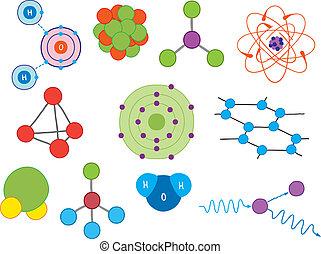 illustration, molekylen, atomer