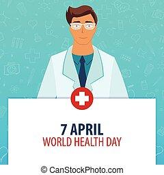 illustration., monde médical, day., holiday., vecteur, santé, 7, médecine, mondiale, april.