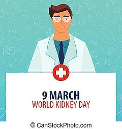 illustration., monde médical, march., day., 9, holiday., vecteur, médecine, mondiale, rein