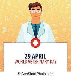 illustration., monde médical, vétérinaire, 29, day., holiday., vecteur, april., médecine, mondiale