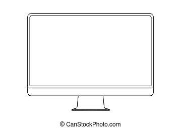 illustration., monitor, colpo, vettore, icon., linea, mostra, contorno