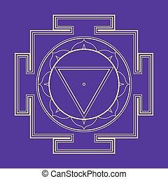 illustration, monocrome, contour, tara, yantra
