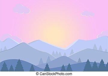 illustration, montagnes., coucher soleil, paysage, levers de soleil, vecteur