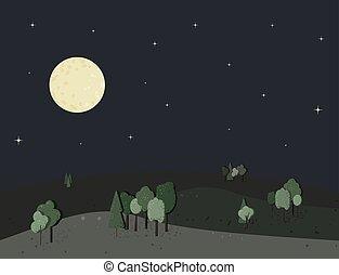 illustration., moon., bomen, vector, nacht, landscape