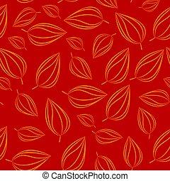 illustration., motívum, leaves., seamless, ősz, vektor, háttér