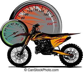 illustration motocross rider ride the motocross bike