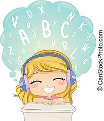 illustration, mots, apprendre, girl, gosse, écouter