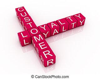 illustration, mots croisés, rendu, loyauté, fond, client, 3d, blanc