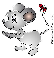 illustration mouse with bow on tail