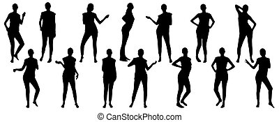 illustration, mouvement, ensemble, silhouettes, girl, vecteur