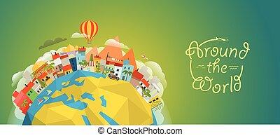 illustration., mundo, vector, viaje, alrededor, ilustración, concepto