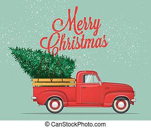 illustration., munter, år, vektor, färsk, pickupen, lycklig, mall, eller, designa, jul, årgång, lastbil, flygare, vykort, träd., affisch