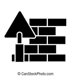 illustration, mur, -, isolé, signe, vecteur, noir, bricolage, fond, icône, brique