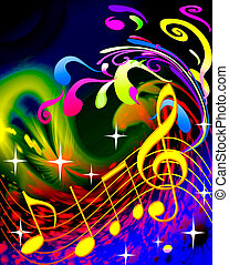 illustration music and waves on bright background
