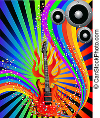 music background with guitar and rainbow