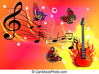 music background with guitar butterfly and fire