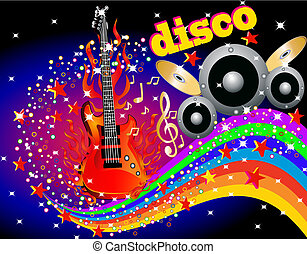 illustration music background with guitar speaker and rainbow