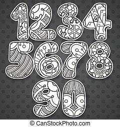 illustration, nät, elementara, elements., t-tröja, klotter, annat., kollektion, booklets, design, vävnad, kan, använd, vektor, numrerar, zentangle, tryck, vara, kort, set.