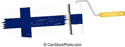 illustration., nacional, bandeira finland, isolado, experiência., apoplexia, vetorial, escova, branca