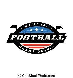 illustration., national, football, championship., américain, vecteur, logo.