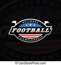 illustration., national, football, championship., sombre, arrière-plan., américain, vecteur, logo