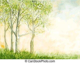 illustration., natur, abstrakt, träd, vattenfärg, vektor,...