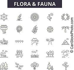 illustration:, natura, fauna, flora, set, contorno, concetto, fauna, vector., animale, disegno, linea, flora, segni, icone