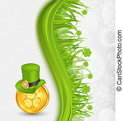 Illustration natural background with coin, hat, shamrocks, grass. St. Patrick's Day - vector