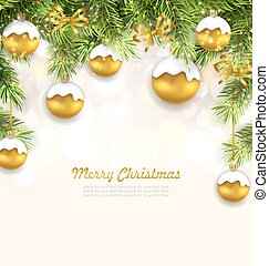 Natural Christmas Background with Fir Twigs