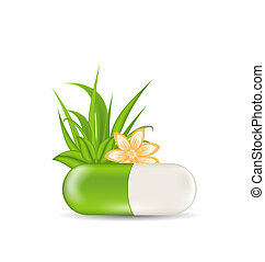 Illustration natural medical pill with flower, leaves, grass, isolated on white background - vector