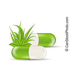 Illustration natural medical pills with green leaves and grass, isolated on white background - vector
