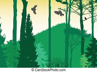 illustration., nature., arbre, silhouette., vecteur, image