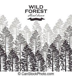 illustration., nature., drzewo, sosna, tło., wektor, las, dziki, krajobraz