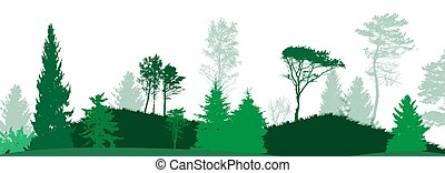 illustration., nature., vecteur, image, silhouette., arbre