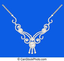 illustration necklace women for marriage with pearls and precious stones on a dark blue background