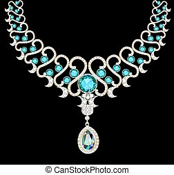 illustration necklace women's wedding with precious stones