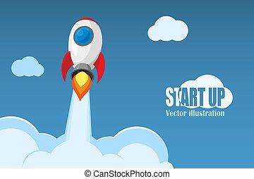illustration., negócio, concept., cima, início, vetorial