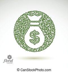 illustration., negócio, saco, dinheiro, economia, stylized, operação bancária, tema, vetorial, floral, ícone, icon., conceitual