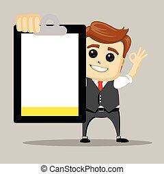 illustration., negócio, vetorial, ok., homem negócios, feliz, man., mostra