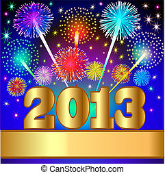 illustration new year background with salute and gold(en) numeral