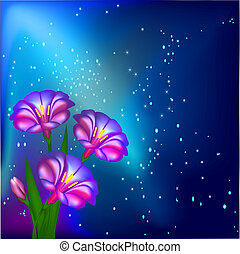 night background with flowers and stars