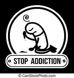 illustration., no, drogas, parada, etiqueta, cocaína, vector...