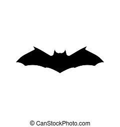 illustration., noir, silhouette., voler, vecteur, isolé, chauve-souris