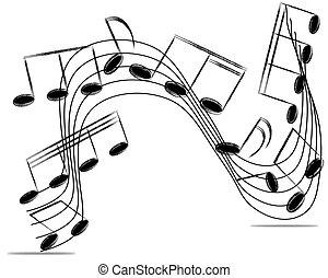 illustration., notas, vetorial, white., fundo, equipe funcionários musical